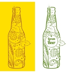 Beer bottle abstract ornament vector image vector image