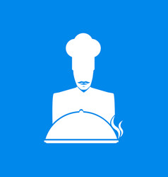 cook mustachioed chef with a dish icon vector image