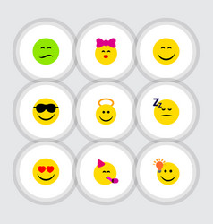 Flat icon face set of asleep frown love and vector