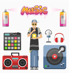 hip hop character musician with microphone vector image