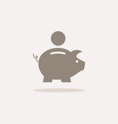 piggy bank icon with shadow on a beige background vector image