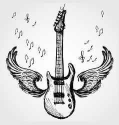 rock guitar and wings vector image