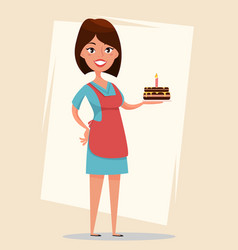 woman holding tasty cake with burning candle for vector image vector image