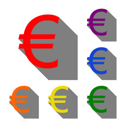 euro sign set of red orange yellow green blue vector image vector image