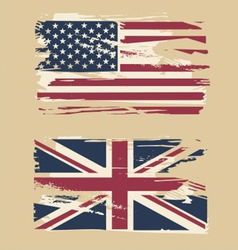 Grunge flags of USA and UK vector image