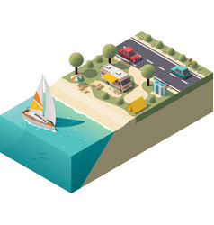 isometric beach camping vector image vector image