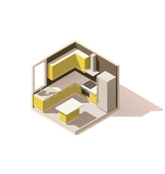 isometric low poly kitchen room icon vector image vector image
