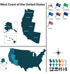 map of west coast of the united states vector image vector image