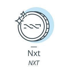 nxt cryptocurrency coin line icon of virtual vector image vector image