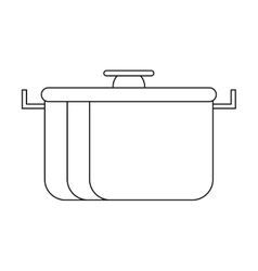 outline pot food element camping vector image