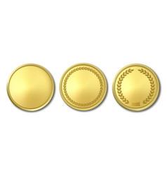 3d realistic golden metal blank coin icon vector