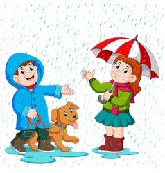 a couple under an umbrella walking in the rain vector image
