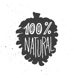 A hundred persent natural lettering in cone vector