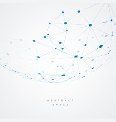 abstract design with blue compound lines and dots vector image