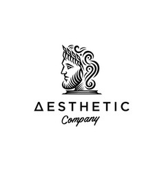 Ancient greek figure face head statue logo vector