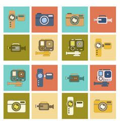 assembly flat icon technology camcorder photo vector image