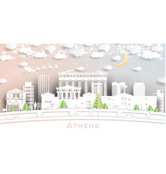 athens greece city skyline in paper cut style vector image