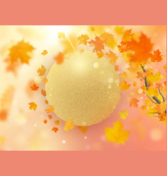 autumn leaves background with red orange and vector image