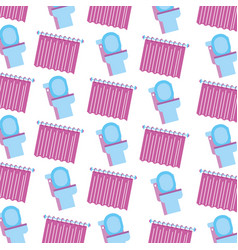 bathroom toilet and curtain clean seamless pattern vector image