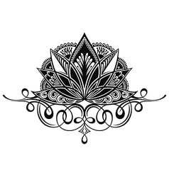 Beautiful lotus flower line vector image