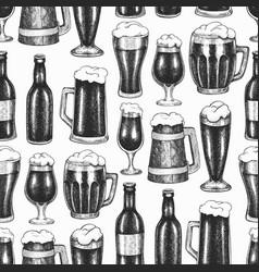beer glass mug seamless pattern hand drawn pub vector image