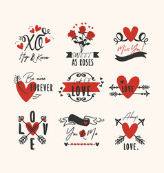 black and red hand drawn heart and love emblem set vector image