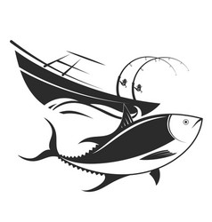 Boat with fishing rods and tuna vector