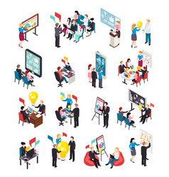 Business coaching isometric icons vector