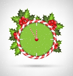 Candy cane clock with holly vector
