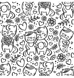 cat couple valentine day seamless pattern vector image