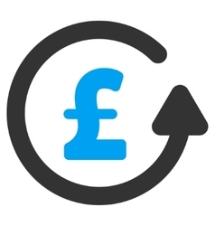 Chargeback Pound Flat Icon Symbol vector
