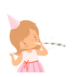 Cheerful little girl wearing birthday hat blowing vector