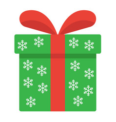 christmas gift box flat icon new year vector image