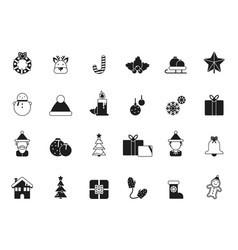 christmas icons bells and santa elf and vector image