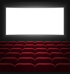 Cinema hall with white screen vector