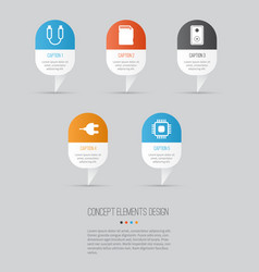 Computer hardware icons set collection of audio vector