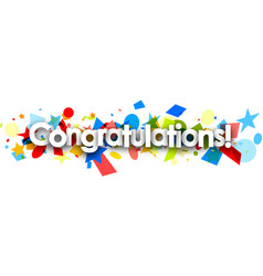 congratulations paper banner with confetti vector image