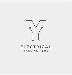 Connect or electrical y logo design icon element vector