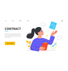 Contract concept with young female character vector