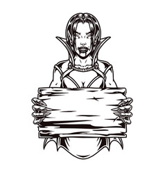 cruel vampire girl holding blank wooden plank vector image
