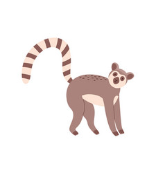 Cute and funny lemur with striped long tail vector