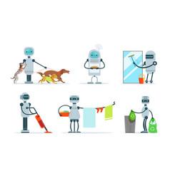 Cute robots do different housework vector