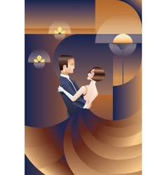 Dancing couple Art Deco geometric style poster vector