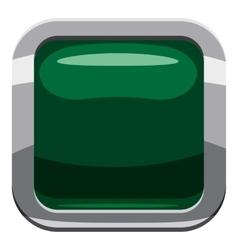 Dark green square button icon cartoon style vector