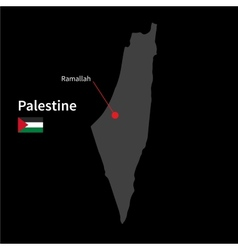 Detailed map of Palestine and capital city vector