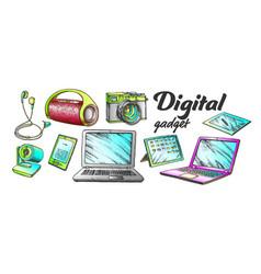 digital audio and video gadgets color set vector image
