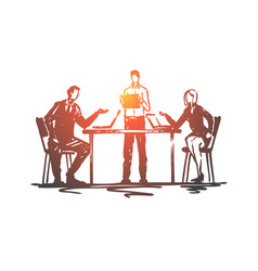 discussion meeting business people office vector image