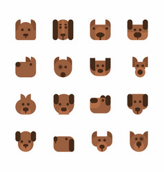 Dogs heads emoticons set cute pets vector