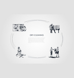 dry-cleaning - ironing chemical cleaning machine vector image