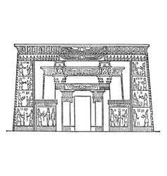 Egyptian-front of temple of isis egyptian vector